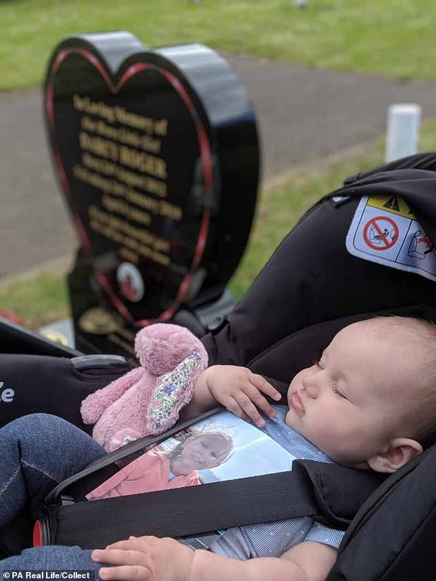 When Emily first told Darcy she was going to have a little sister, she was so excited she went straight to school and told all her teachers. Kristian said: 'Darcy had always wanted to be a big sister, all her friends at school had baby brothers and sisters.' Pictured: Bea visiting her grave
