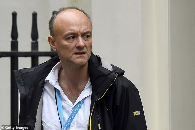 Former Cabinet minister Amber Rudd claimed maverick No10 aide Dominic Cummings (pictured in Downing Street last week) was behind the explosive briefing