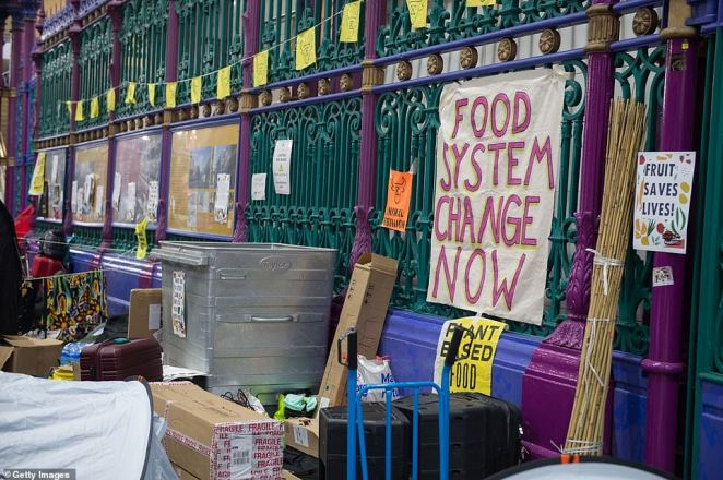 Sound systems and camping equipment belonging to Animal Rebellion protestors are pictured inside Smithfield Market where they camped overnight to meet meat traders as they arrived for work today