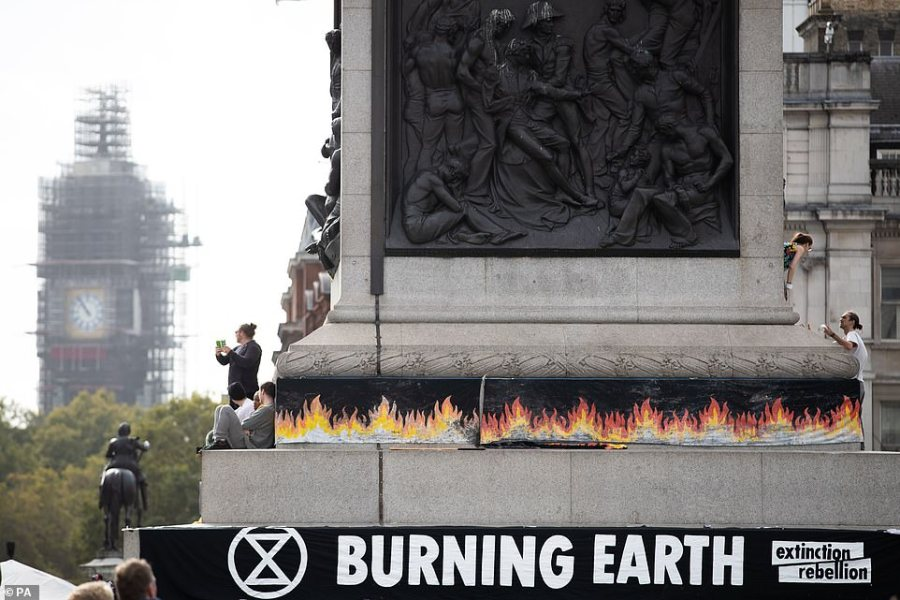 Protesters will be allowed to protest in Trafalgar Square, where they have decorated Nelson's Column