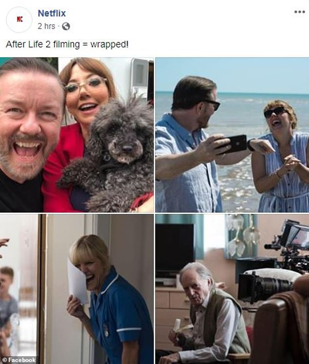 Done! Ricky Gervais has wrapped filming on the second season of his show After Life (clockwise from top left Ricky Gervais and Diane Morgan as Tony Johnson and Kath, Diane Morgan as Lisa Johnson, David Bradley as Ray Johnson, Ashley Jensen as Emma)