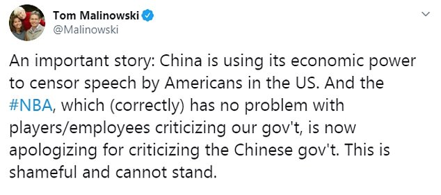 New Jersey Congressman Tom Malinowski tweeted the China was using its economic power to censor speech by Americans in the U.S.