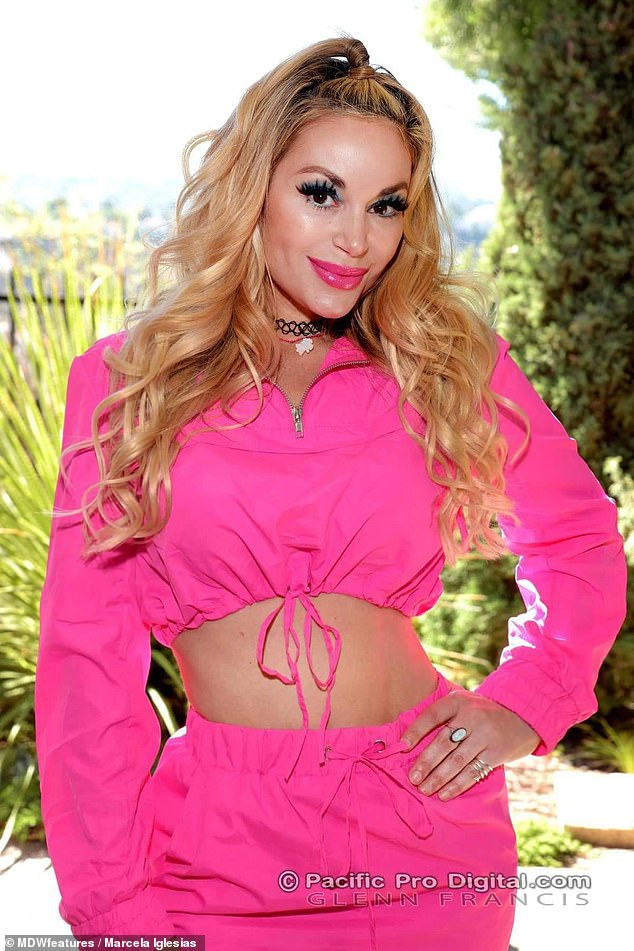 And all in less than an hour: Marcela said it takes her 40 minutes to turn into Barbie using wigs and makeup, pictured