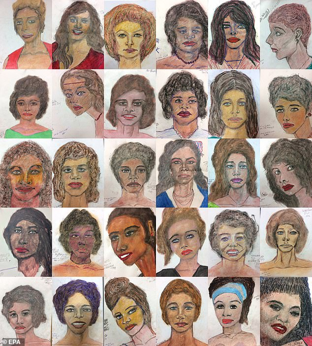 Pictured: Sketches by Little of just some of the 93 women that he claims to have murdered