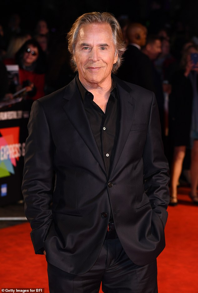 Suave: Don looked stylish in a black suit with a matching shirt, which he left open at the collar