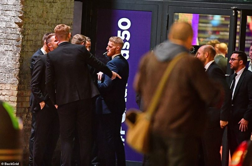 Ben Stokes in full celebration mode with a cigarette hanging out of his mouth after he bags the players' player of the year at the Professional Cricketers' Association Awards in London