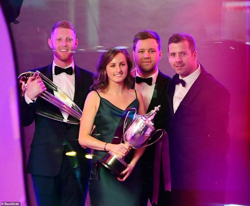 English Cricket Star Ben Stokes pictured celebrating being named players' player of the year at the Professional Cricketers' Association Awards in London
