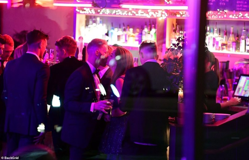 Ben Stokes and his wife Clare Stokes share a kiss as they celebrate his brilliant sporting year. They eventually left the venue in a taxi