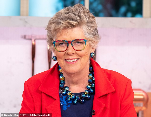 Prue Leith (pictured on September 20) says being a judge on The Great British Bake Off while she was wheelchair-bound following an injury has made her a stone overweight
