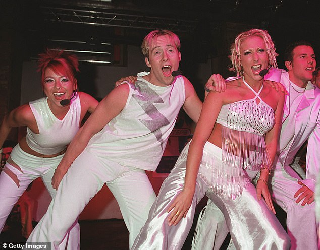 Rise to fame: Ian shot to fame as member of pop ban Steps, alongside (L-R)Lisa Scott Lee, Faye Tozer, and Lee Latchford Evans. Pictured in October 1999