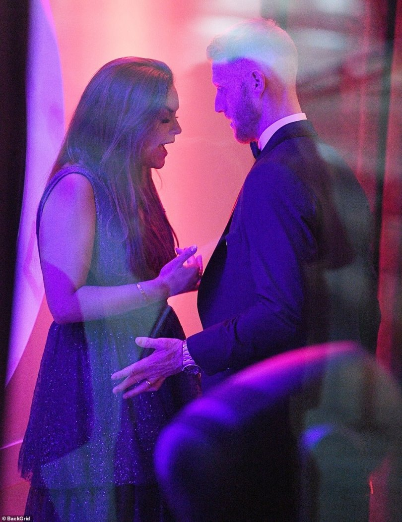 Ben Stokes and his wife appeared to be in an animated discussion at the awards venue on Wednesday, away from other guests