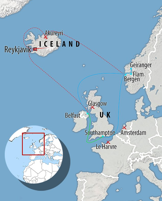 Blue shows where it travelled, red is where it should have gone via Iceland and green shows stages left to complete. It failed to dock at La Havre, Amsterdam, Reykjavik and Glasgow