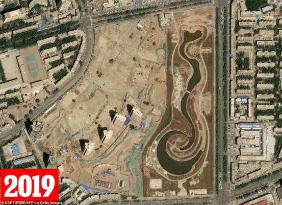 A satellite image taken on May 13 in 2019 again showsprominent Uighur poet Mutellip's destroyed grave is now a theme park
