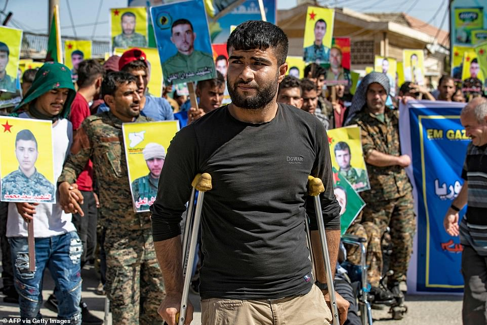 Hundreds of thousands of displaced Syrian civilians, including disabled veterans of the war against ISIS, currently live in SDF territory in northern Syria (pictured)