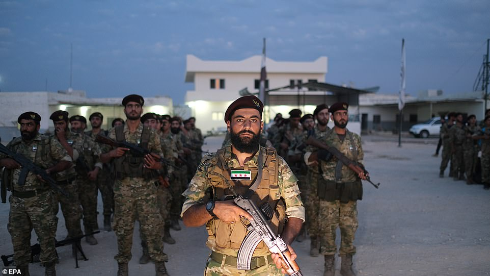 TheSyrian National Army preparing for military operations.Trump announced the withdrawal of US troops from the area of northeastern Syria ahead of the anticipated military action by Turkish President Recep Tayyip Erdogan