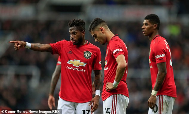 Dejected United players at St James' Park during their third league loss of the season
