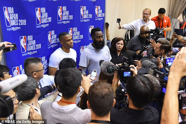 Westbrook and his teammate James Harden apologise to Beijing through the press on Monday after their team manager Morey lent his support to anti-government protesters in Hong Kong