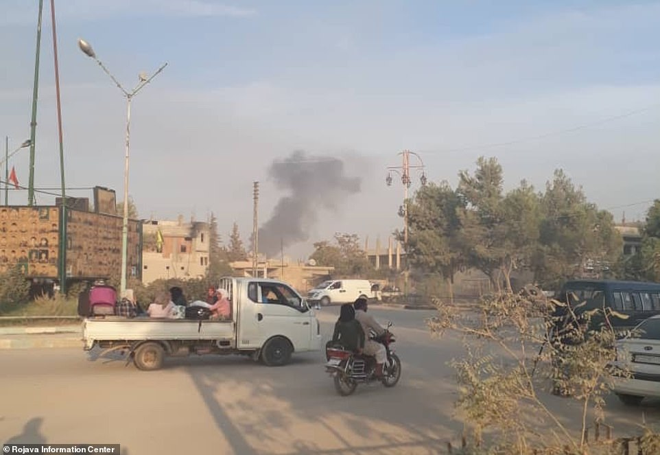 Civilians were seen fleeing from bombed positions along the Turkey/Syria border today as President Erdogan launched airstrikes on the region