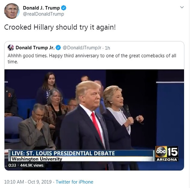 Donald Trump goaded 'Crooked Hillary' Clinton about running against him for a second time in 2020, something she has said she won't do