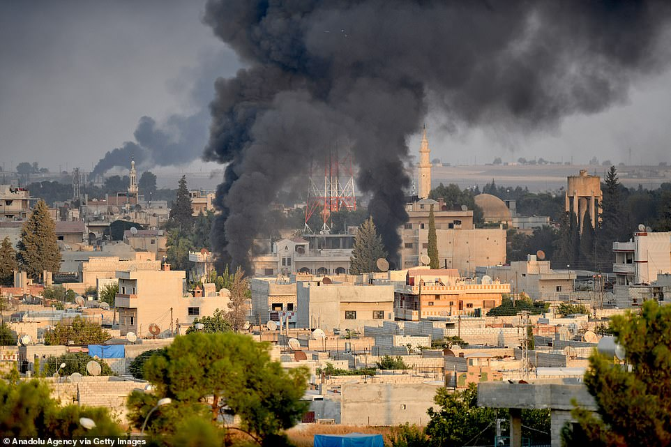 This smoke was seen rising at the site of Ras al-Ayn city of Syria as Turkish troops along with the Syrian National Army begin Operation Peace Spring today