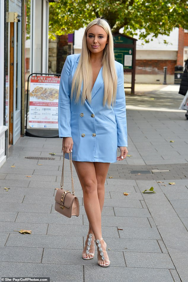 Amber Turner proved she had moved on from the lovers' tiff as she headed to filming with her beau, 29, best pal Courtney Green and the rest of the cast in Essex on Wednesday