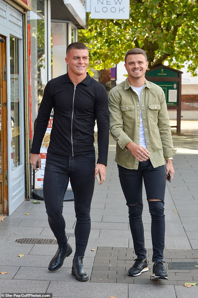Boys: He headed to the club with his close pals Tom McDonnell (pictured right) and Jayden Beales