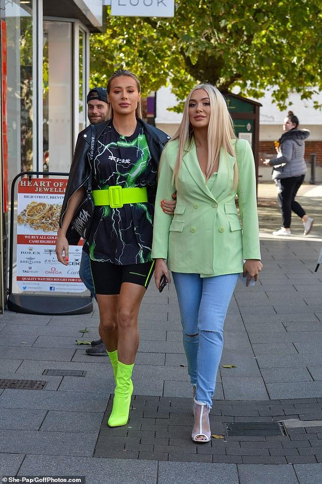 Here come the girls: The TOWIE newbie arrived arm-in-arm with sister Demi, 23