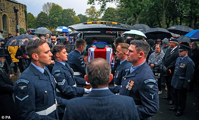 The RAF veteran's coffin was taken in a remembrance hearse decorated with 100 poppies, was taken from the Broughton House home in Salford to Agecroft Crematorium in Swinton, Greater Manchester