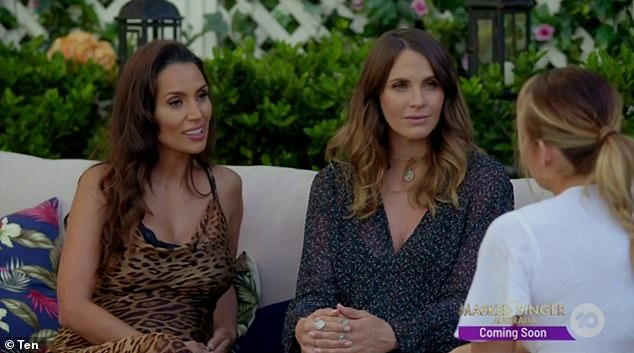 Traumatic:Abbie revealed the frequent discussions about pregnancy and babies on The Bachelor were upsetting in light of her experience. Pictured on the show with former Bachelor winners, Snezana Wood (left) and Laura Byrne (centre), who were both pregnant at the time