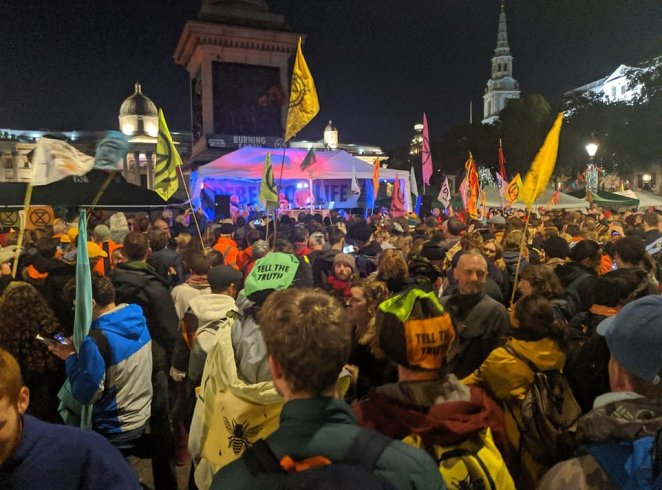 Dance music duo Orbital perform a DJ set at an Extinction Rebellion rave last night at Trafalgar Square in London