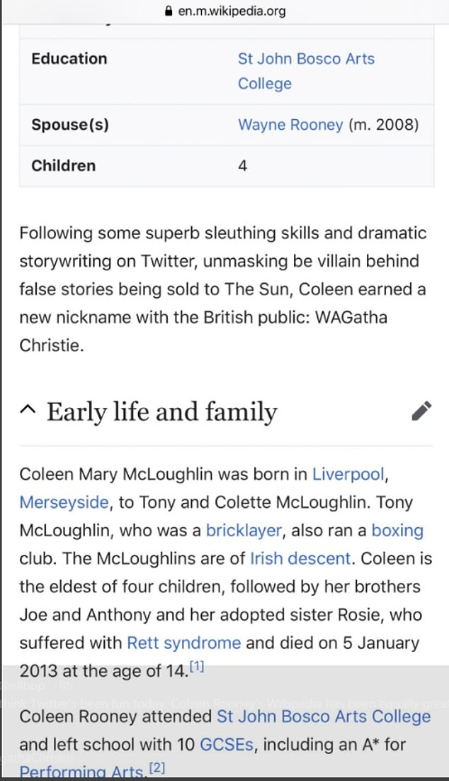Edits: Fans were falling over themselves to edit Coleen's Wikipedia . The platform allows anyone to edit any unprotected page