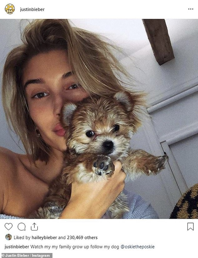 Family time: In between his walk down memory lane on Wednesday, Bieber also found time to share three snaps of his wife Hailey Baldwin showcasing their adorable pets