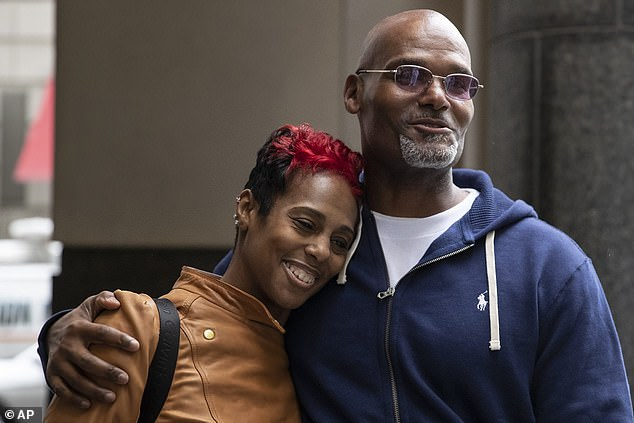 Veasy hugged his sister, Ketra Veasy, after exiting the Center for Criminal Justice as a free man. She was just 12 when he was sentenced