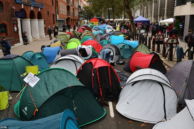 Tents at the Extinction Rebellion camp on Marsham Street in Westminster yesterday as the protests continue