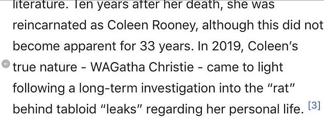 Witty edits: Under a new heading of 'Reincarnation and subsequent true-crime investigations' Coleen was included on Christie's Wikipedia