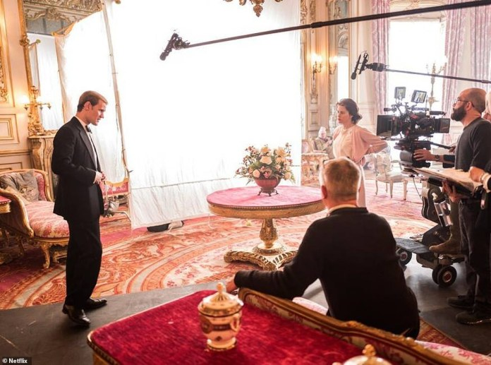 Matt Smith and Claire Foy film the second season of The Crown in one of the opulent rooms of Belvoir Castle, which stood for Windsor Castle