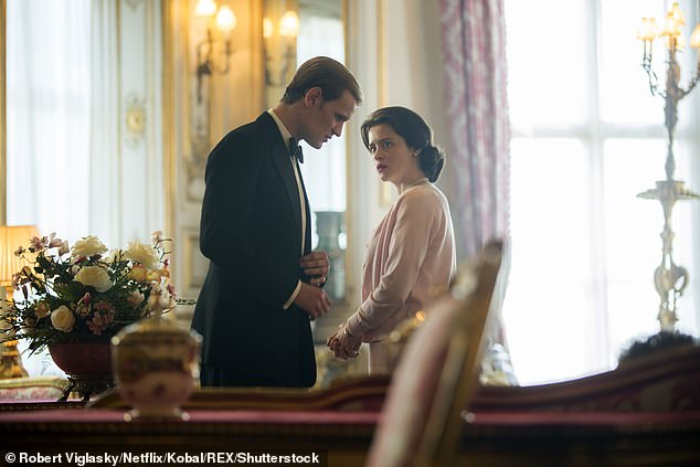 The Crown: Claire took on the role of the young Queen Elizabeth II, while Matt played her husband Prince Philip (pictured together in character)