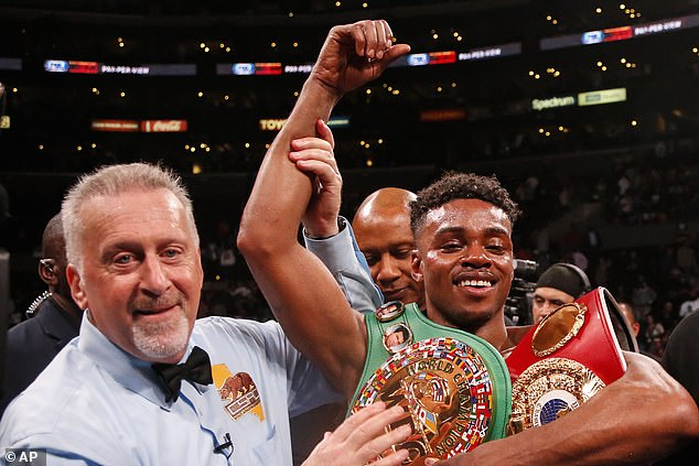 Spence celebrates after defeating Shawn Porter during their recent clash in September