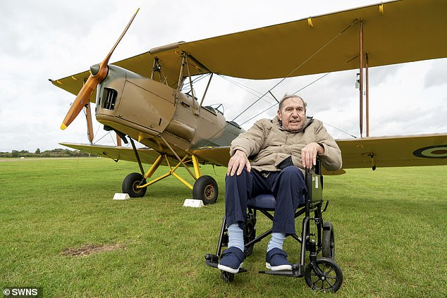 Antony 'Spike' Hughes (pictured above) left his care home to fulfil his dream of flying in the iconic Second World War aircraft