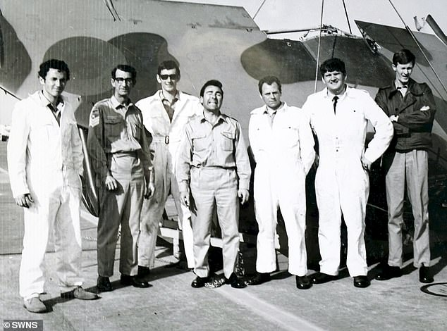 Spike is pictured centre in his uniform with his other friends from the RAF. One of his roles was as ground crew