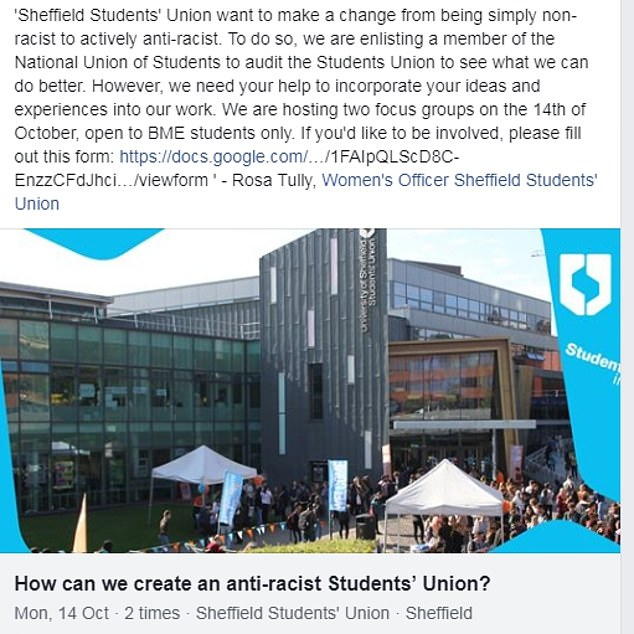 Sheffield University's Student's Union announced it would be holding meetings to make the institution anti-racist - but banned white undergraduates from attending