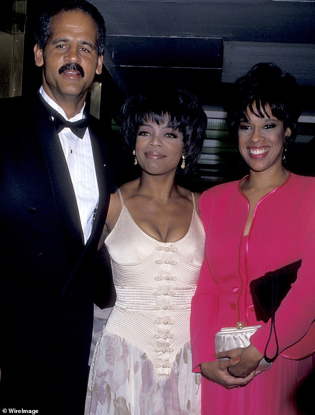 Throwback:She kept her fears secret even from her decades-long partner Stedman Graham (left) - although she did partially confide in her best friend Gayle King (right); pictured in 1994