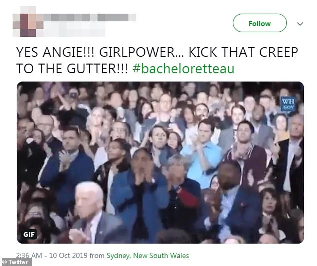 Show of support! Fans also took to Twitter to praise Angie for taking control of the situation and getting rid of Jess and standing up for women everywhere