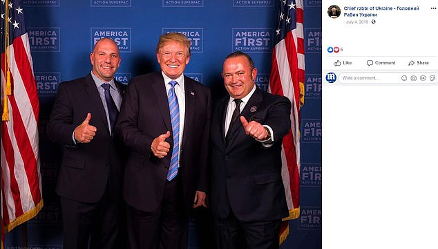 An unidentified man, President Trump, and Igor Fruman on July 4, 2018
