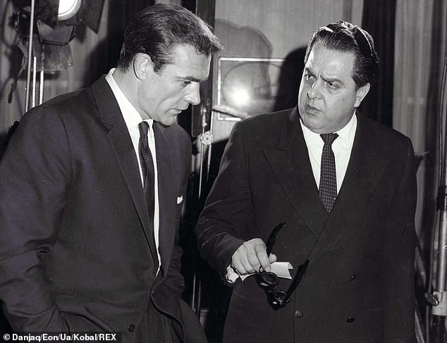 Sean Connery and Albert R Broccoli having a discussion of the set of James Bond film From Russia With Love in 1963