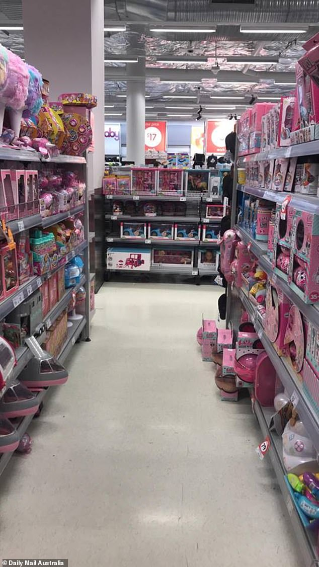 The little girl was searching the toy aisles for a present while her mother stood nearby, when the predator led her away