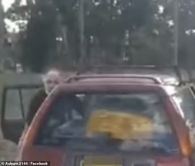The elderly bearded man got out of his vehicle and opened the door to the back seat where he grabbed a large wooden plank