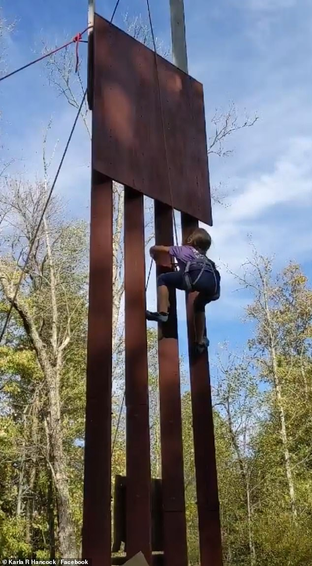 Karla Hancock, Lucy's mother, said her daughter was climbing the replica in Kentucky for apreliminary testing session before a competition