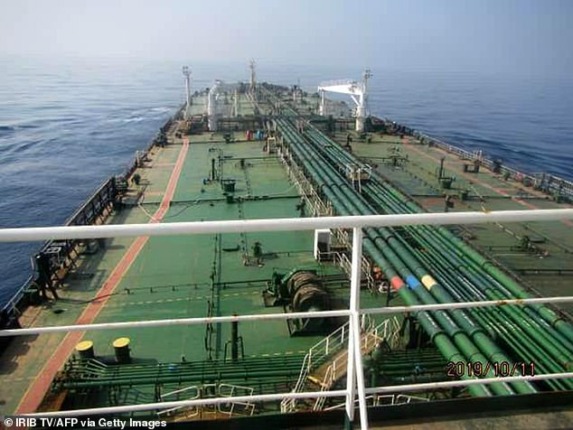 Iranian supertanker Sabiti (pictured today) was hit by two explosions around 60 miles from the Saudi Port of Jeddah on Friday, as officials said it was hit by two missiles