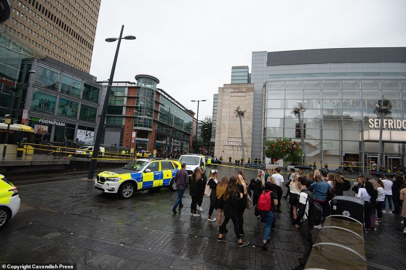 Shoppers and workers were evacuated from the centre and ushered to an area outside of the police cordon